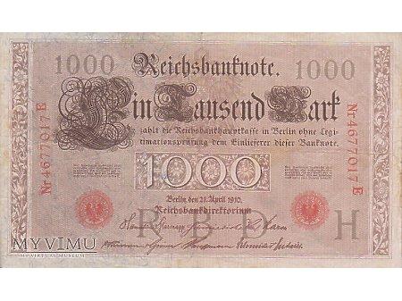 1 000 Reichsbanknote - 21 kwiecień 1910 rok. (c)
