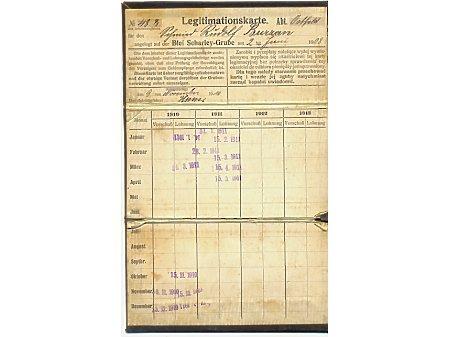 Karta legitymacyjna kop.Biały Szarlej 1911