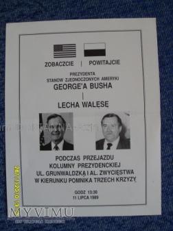 Informacja o przybyciu G.Busha do Polski z 1989r.