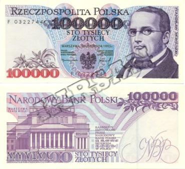 Banknot 100000 zlotych 1993 r