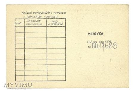 METRYKA 7,62 mm kbk AKMS Nr AA 17688
