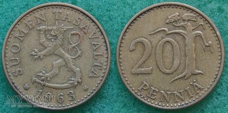 Finlandia, 20 PENNIÄ 1963