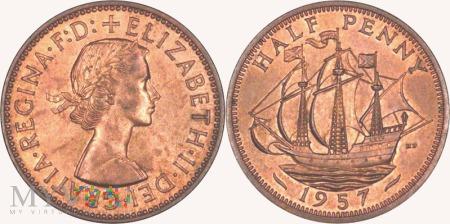 Wielka Brytania, half penny 1957