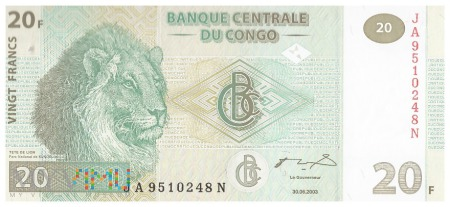 D.R. Konga - 20 franków (2003)