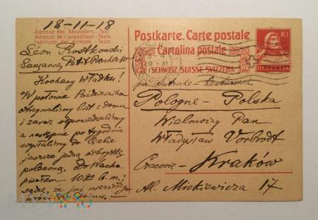 Kartka pocztowa do profesora Vorbrodta, 18-11-18