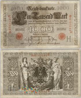 Niemcy, 1000 marek 1910r. Ser.E