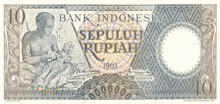 Indonezja - 10 rupii (1963)