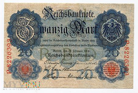 Duże zdjęcie Niemcy, Imperium - 20 marek, 1914r. UNC