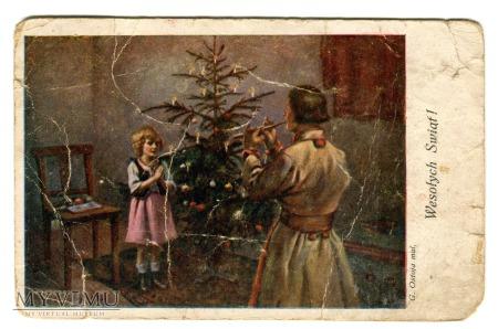 1930 Wesołych Świąt ubieranie choinki Święta