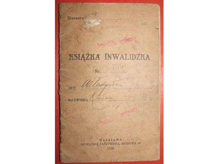 Książeczka inwalidy z wojny Polsko - bolszewickie