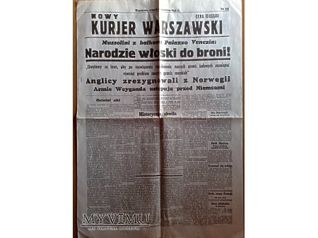 Duże zdjęcie Nowy Kurjer Warszawski z 11 czerwca 1940 r.
