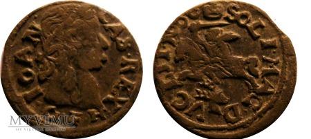 """Szeląg """"boratynka"""" Jan II Kazimierz 1666"""