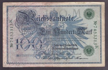 Niemcy, 100 marek 1908r. Ser.K