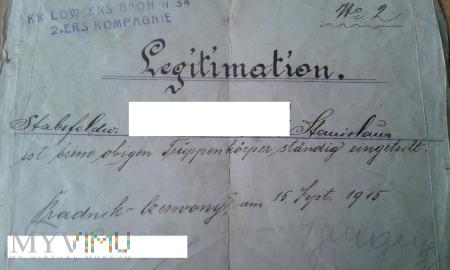 legitymacja żołnierza Prądnik Czerwony