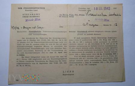 Powiadomienie urzędu skarbowego 1942 rok