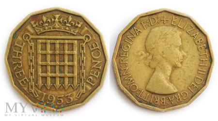 Wielka Brytania, THREE PENCE 1953
