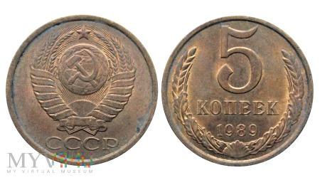 Duże zdjęcie ZSRR, 5 Kopeks (kopeek) 1989