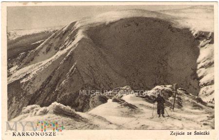 Duże zdjęcie Karkonosze - Zejście ze Śnieżki - lata 40/50-te