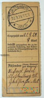Dowód wpłaty, przelewu Fürstenberg (Oder) 1924