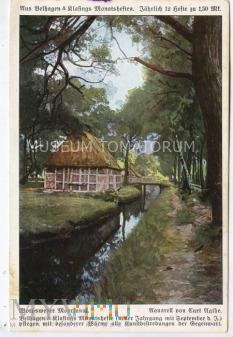 Widok wiejski - Domy nad kanałkiem