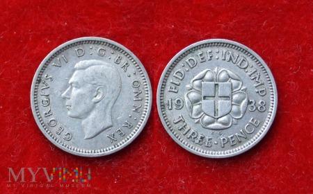 Wielka Brytania, THREE PENCE 1938