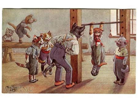 ARTHUR THIELE Koty uczłowieczone SPORT TSN 1880