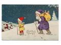 1928 Święty Mikołaj z zabawkami Wesołych Świąt
