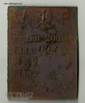 Tabliczka znamionowa WP 1930.