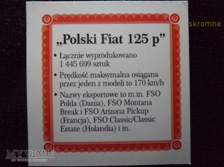 medal FIAT 125p wraz z certyfikatem