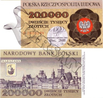 Banknot 200000 zlotych 1989 r