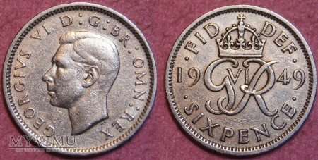 Wielka Brytania, SIX PENCE 1949