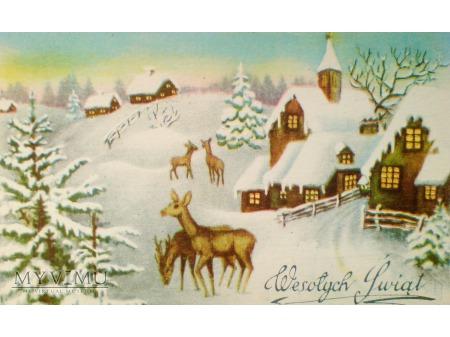 1952 Wesołych Świąt Krajobraz wiejski sarny