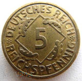 5 reichspfennigów 1936 r Niemcy (Rep.Weimarska)