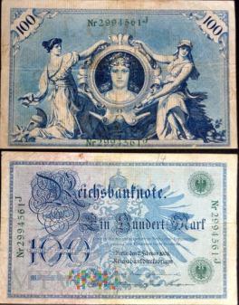 Niemcy, 100 marek 1908r. Ser.J
