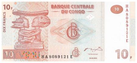 D.R. Konga - 10 franków (2007)