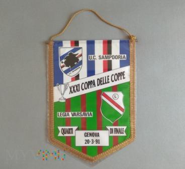 Proporzec Sampdoria Genua-Legia Warszawa PZP 1991