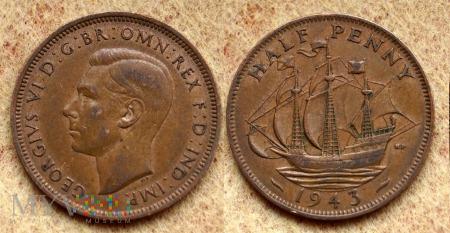 Wielka Brytania, half penny 1943
