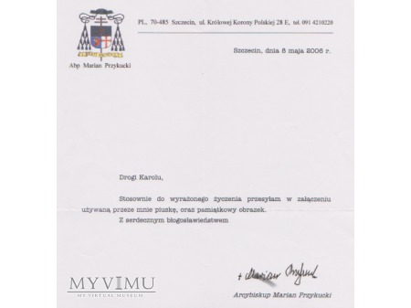 List od Arcybiskupa Mariana Przykuckiego