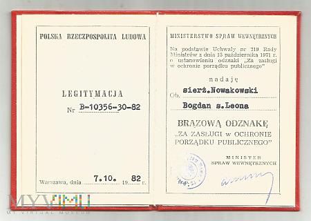 B.Nowakowski - legitymacja porządku publicznego