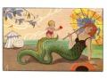 Syrena i amorek Sofia Chiostri Mermaid Postcard