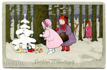 Duże zdjęcie 1924 Nowy Rok Święty Mikołaj Fritz Baumgarten