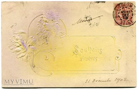 1902 Secesja Kobieta kwiaty POCZTÓWKA art nouveau