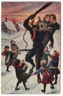 Diabeł KRAMPUS i dzieci i zakochani pocztówka