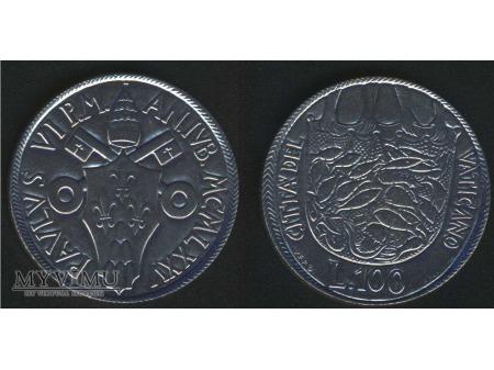 100 lirów PAVLUS VI P.M. ANIVB.MCMLXXV
