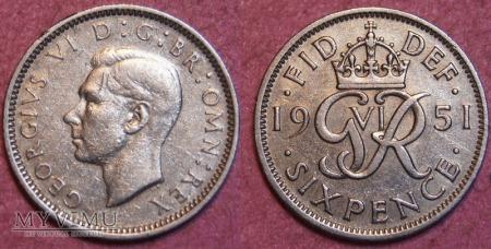 Wielka Brytania, SIX PENCE 1951