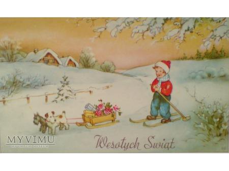 1949 Wesołych Świąt Krajobraz wiejski sarny
