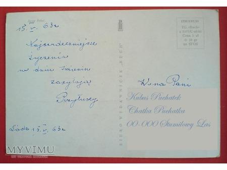 Jerzy Połeć Pocztówka PRL Kwiaty imieninowe