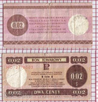 bon towarowy-PRL- 2 centy