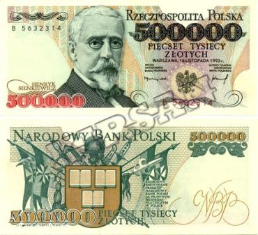 Banknot 500000 zlotych 1993 r