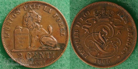 Belgia, 1905, 2 Centimes
